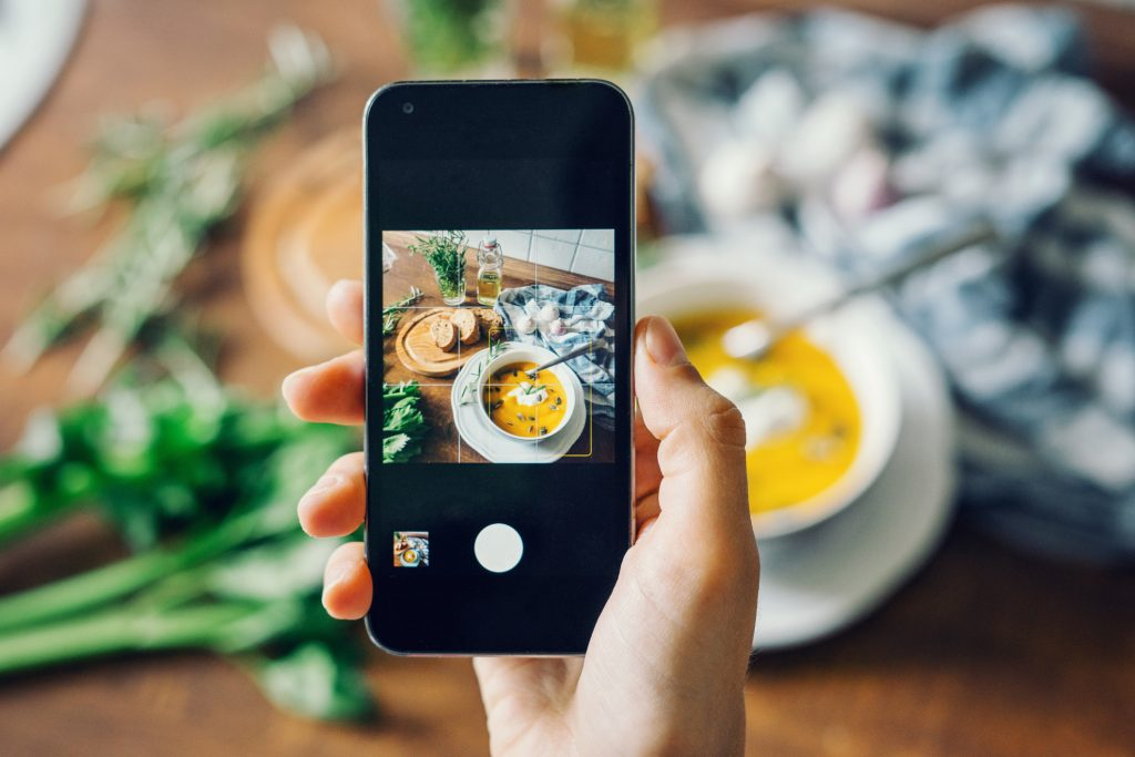 iPhone taking picture of plant-based foods